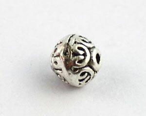 50 Tibetan silver spiral heart round spacer beads T8398