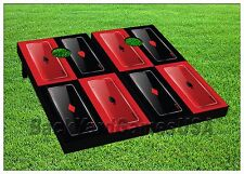 Cornhole Beanbag Toss Game Red Black Deck of Cards w Bags Game Board Set 503