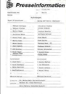 DFB-Pokalendspiel 12.06.1993 Bayer 04 Leverkusen - Hertha BSC (A), Presseinfo