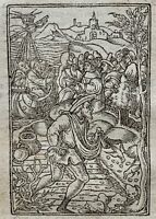1541 Regnault Bible - Fine woodcut leaf - CROWDS FOLLOW JESUS