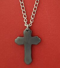 Cross Necklace Hematite Pendant and Stainless Steel Curb Chain new religion