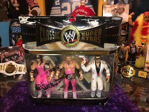 WWF WWE BRET HART AUTOGRAPHED CLASSIC SUPERSTARS FIGURE 3 PACK HART FOUNDATION