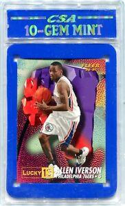 1996-97 Fleer Lucky 13 1 Allen Iverson Rookie CSA 10 GEM MINT