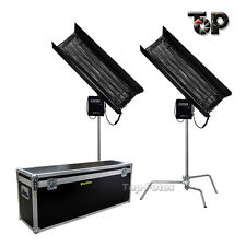 2Kit 300w 4FT 4Bank Fluorescent Light+Ballast Tubes+C-Stand+Egg Crate As Kinoflo
