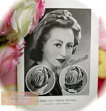 Vintage 40's Sewing Pattern For A Turban Made From Remnants. Easy To Complete!!!