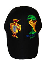 PORTUGAL BLACK FPF LOGO FIFA SOCCER WORLD CUP 2014 EMBOSSED HAT CAP .. NEW