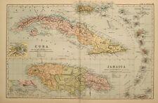1898 antiguo mapa Cuba La Habana Jamaica KINGSTON menor Antillas Barbadoes