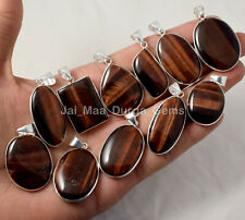 925 Sterling Silver Plated Bezel Pendants Pl-8 10 Pcs Lot Natural Red Tiger Eye