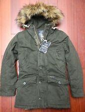 Abercrombie & Fitch $265 Men's Sherpa Lined Faux Fur Olive Heavy Parka Coat XS