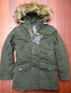 Abercrombie & Fitch $265 Men's Sherpa Lined Faux Fur Olive Heavy Parka Coat XS