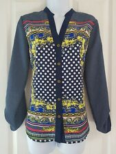 Womens Next Shirt Blouse size 12 blue whits spot pink yellow long sleeve vgc