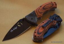 "ELK RIDGE 4.5"" CLOSED BROWNWOOD HANDLE FOLDING KNIFE RAZOR SHARP BLADE W/ CLIP"