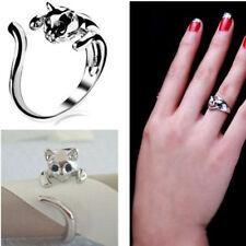 Women 3D Cat Black White 9K Kitten Animal Crystal Eyes Finger Ring Punk Jeewel