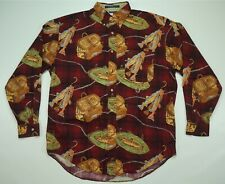 Rare Vintage TOMMY HILFIGER All Over Fishing Fish Tackle Box Casual Shirt 90s M