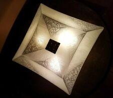 Vtg Art Deco Frosted 3D Designer Glass Shade Light Fixture