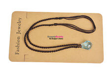 NEW H2O just add water Mako Mermaid Necklace Blue Crystal Brown Cord