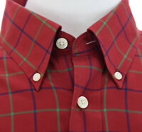 Orvis Mens Red Plaid Button Down Shirt Long Sleeve Colorful Blue Green Red Sz L
