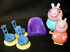 Peppa Pig House Furniture Blue & Purple Chairs + Daddy Mummy Pig Figures