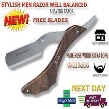 Wood Handle Barber Salon Straight Cut Throat Shaving Razor Shave Rasoi 10 Blades