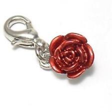 Rosen Blüte  Blume Rosenblüte Blumen Charms Anhänger Bettelarmband Charm C 069
