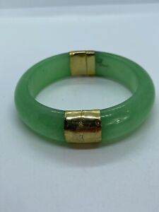 Vintage 14k Gold Plated Green Jade Stone Large Hinged Bangle Bracelet