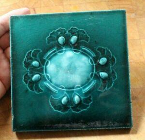 english COLOURFUL edwardian art nouveau  LILY PAD DESIGN antique vintage tile D