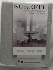 Farmhouse Basketweave Dining Room Chair Slipcover Oatmeal (Gray) SureFit New