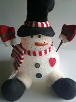 """Vintage Light Up Snowman 11"""" Color Changing Popcorn Plastic Battery Operated"""