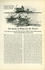 1927 Magazine Article America vs Italy in Airplane Air Races New Monoplane