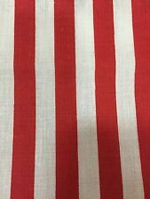 """Red White Half Inch Striped Poly Cotton Fabric - Sold By The Yard - 58"""" / 59"""""""