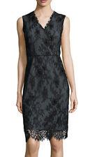 ELIE TAHARI 'Ashley'~ Black Beaded Chantilly Lace V-Neck Party Dress 12 NEW $498