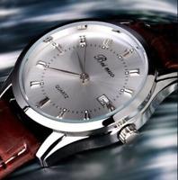 Men Leather Band Stainless Calendar Date Steel Quartz Analog Wrist Watch Useful