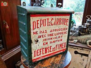 UNIQUE FRENCH METAL CABINET, CARBIDE MINING LAMPS, GREAT DECORATORS PIECE
