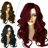 Stylish Women's Brown Black Red Full Long Wavy Curly Hair Wig Party Cosplay Wig