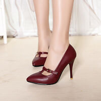 Low-cut T-strap heels pumps women's leather classy shoes work ladies Pointy Toe