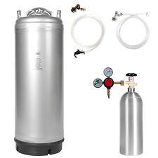 Beer Keg Kit: 5 Gal Ball Lock Keg, 5 lb Co2 Tank, Regulator & Parts - Ships Free