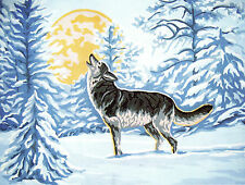 """""""Wolf HOWL"""" Tapestry wool kit to stitch- 50 x 60cm....don't miss out!"""
