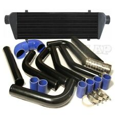 "Universal 28""Turbo Intercooler+2.5"" Aluminum Piping Kit Black/Blue 3ply Coupler"