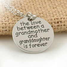 Unique Romantic Grandmother & Granddaughter Forever Pendant Necklace Chain Gift