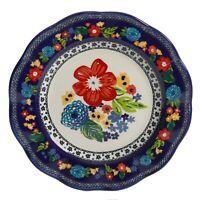 "Set of Four (4) Pioneer Woman ~ Cobalt Dahlia ~ 10.7"" Dinner Plate ~ Stoneware"