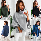 Women Warm Knit Batwing Top Poncho Hoodie Cape Cardigan Coat Sweater Outwear