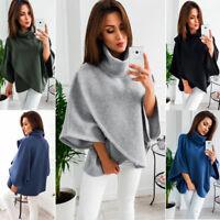 Women Warm Knit Batwing Top Poncho Hoodie Cape Cardigan Coat Sweater Outwear