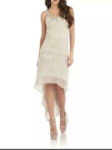 BCBGMAXAZRIA Irina Beaded Neck Silk Hi-Lo Gown Sz XS