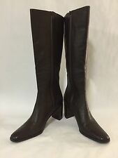 Worthington New Women's Dark Brown Leather Knee High Block Heel Boots 9.5M