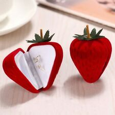 Stud Pendant Earring Ring Box Strawberry Flocking Gift Case Jewelry