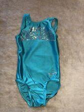 O Zone Gymnastics Leotard Youth Small Super Challenge Green Bling Euc