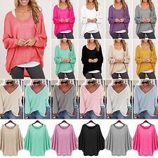 Damen Langarm Sweatshirt Pullover Strick Bluse Pulli Jumper Tops Oversized Bluse