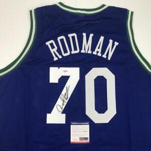 Autographed/Signed DENNIS RODMAN Dallas Blue Basketball Jersey PSA/DNA COA Auto