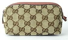Auth Gucci GG Canvas & Leather Cosmetic Bag Makeup Pouch Accessories Bag Italy