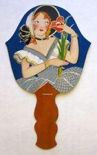 Vintage Bridge Tally Hand Fan w/ Deco Woman Flower B